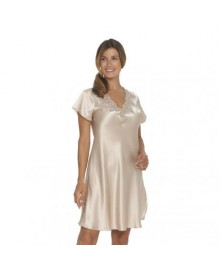 Lady Avenue Pure Silk - Nightgown w. Lace 27-80778